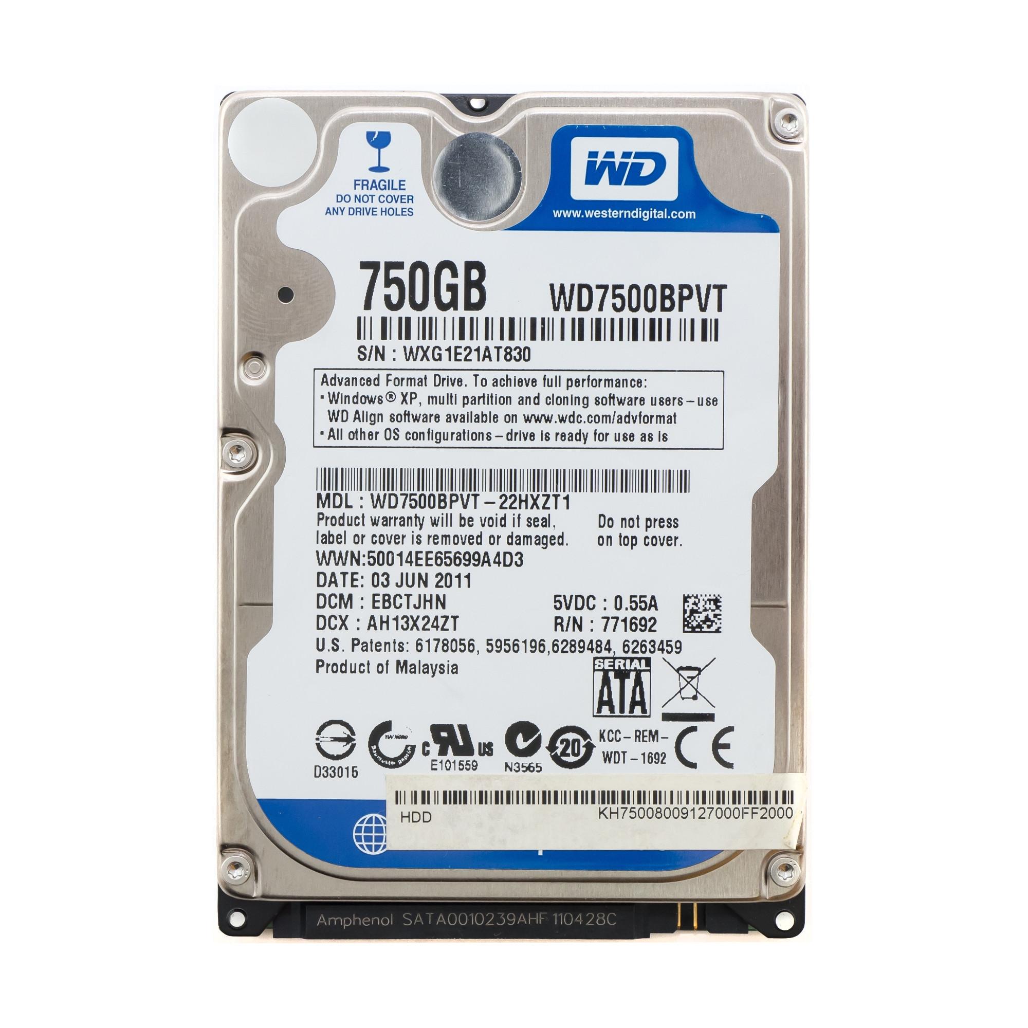 "Жесткий диск 2.5"" 750 Gb WD7500BPVT"