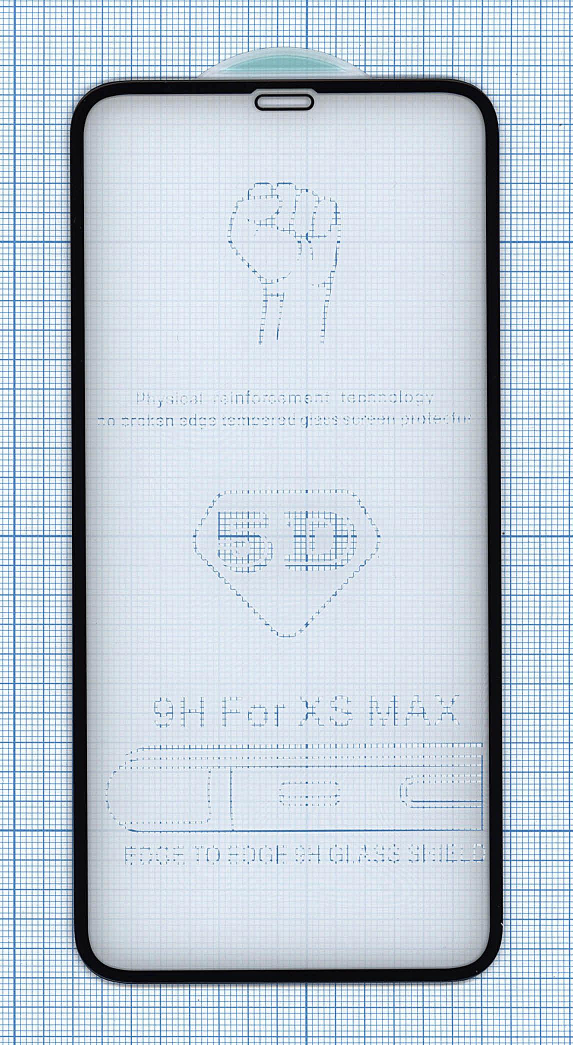 Защитное стекло 5D для Apple iPhone XS Max черное