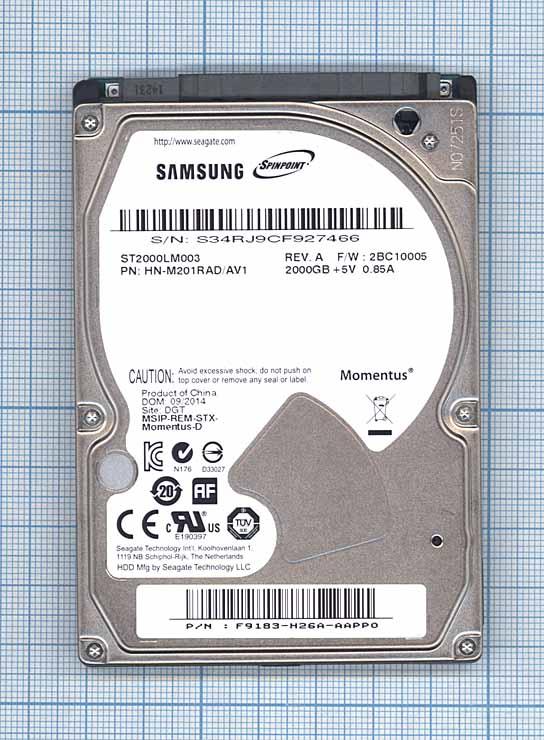 """Жесткий диск 2.5"""" Samsung ST2000LM003 2Тб, SATA II"""