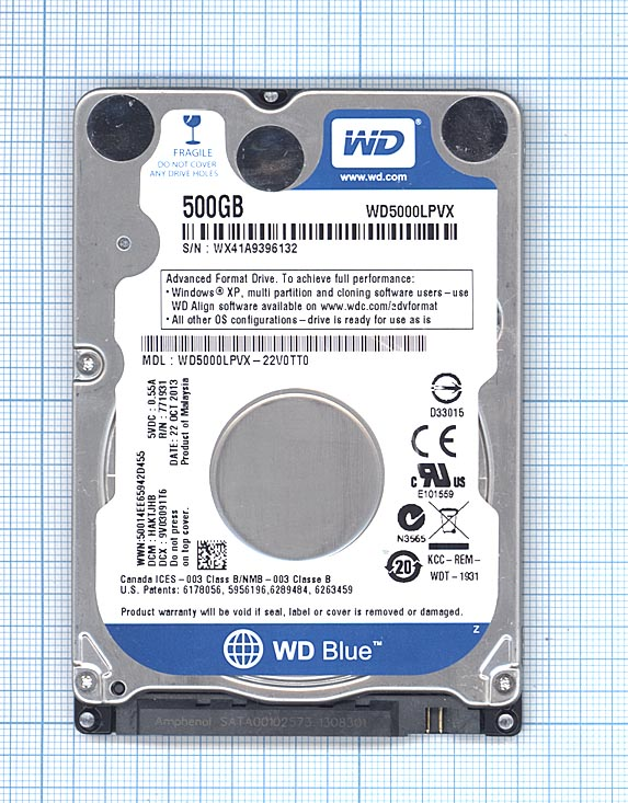 "Жесткий диск HDD 2,5"" Western Digital WD Scorpio Black 500 GB (WD5000LPLX)"