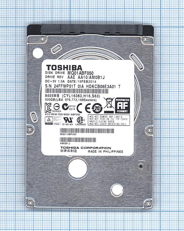 "Жесткий диск 2.5"" TOSHIBA , 500GB , SATA II"