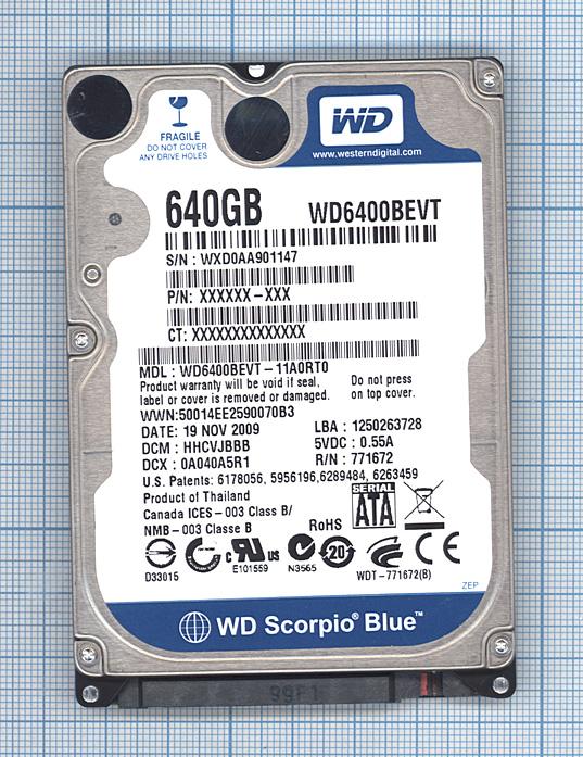 "Жесткий диск WD Scorpio Blue 2.5"",640GB, Sata 3"