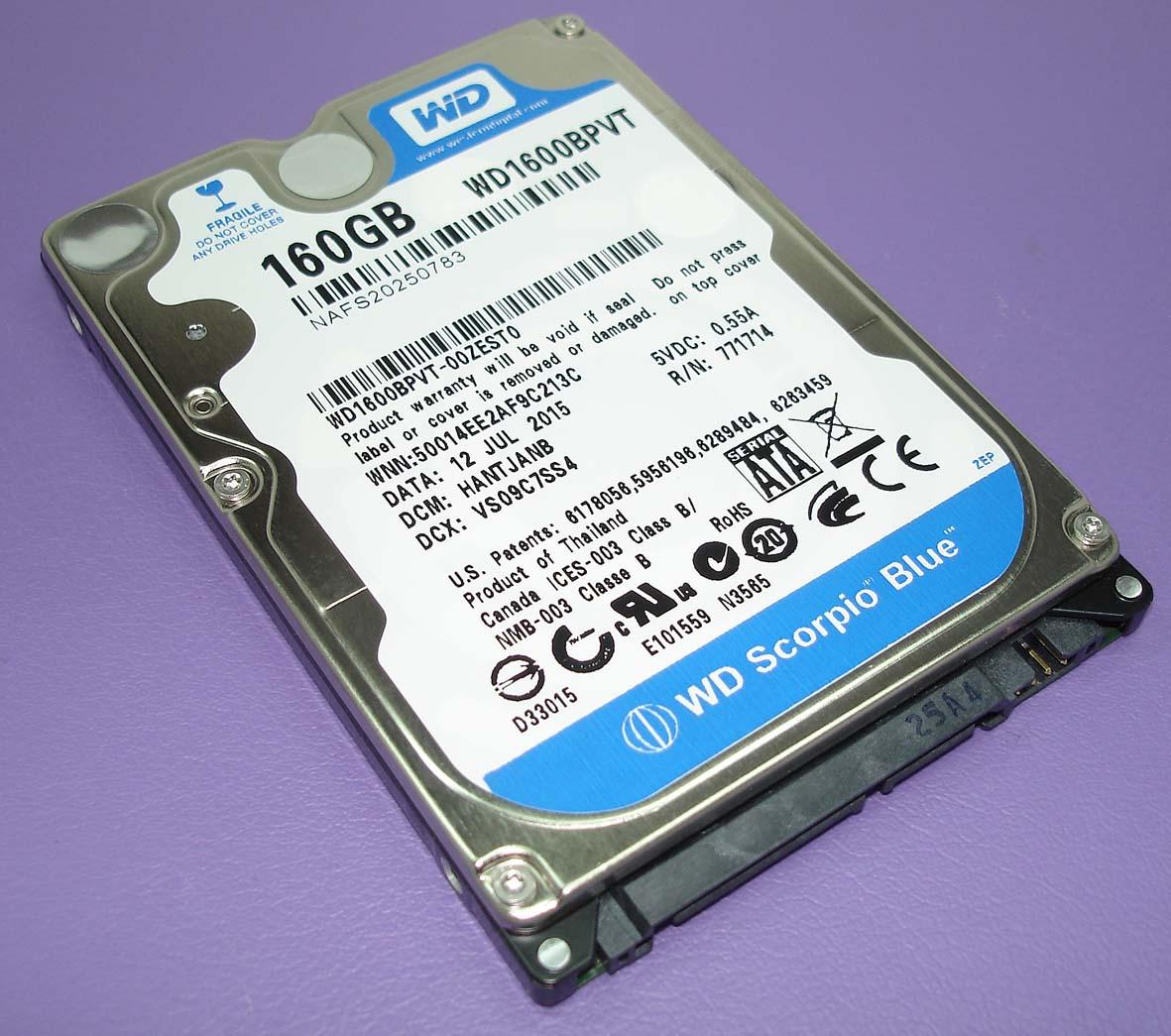 "Жесткий диск WD Scorpio Blue 2.5"", 160GB, SATA II"