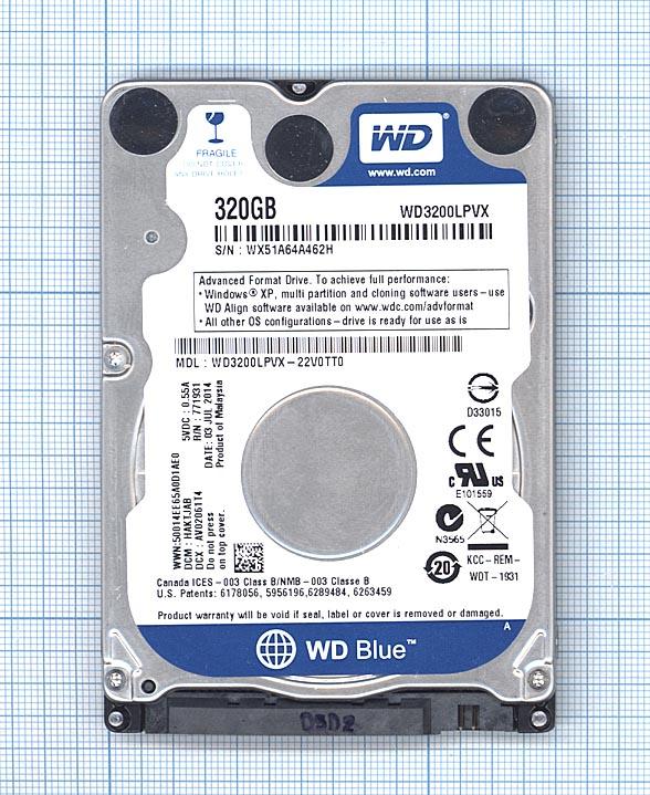 "Жесткий диск 2.5"" WD Scorpio Blue 320GB, SATA II, WD3200LPVX"