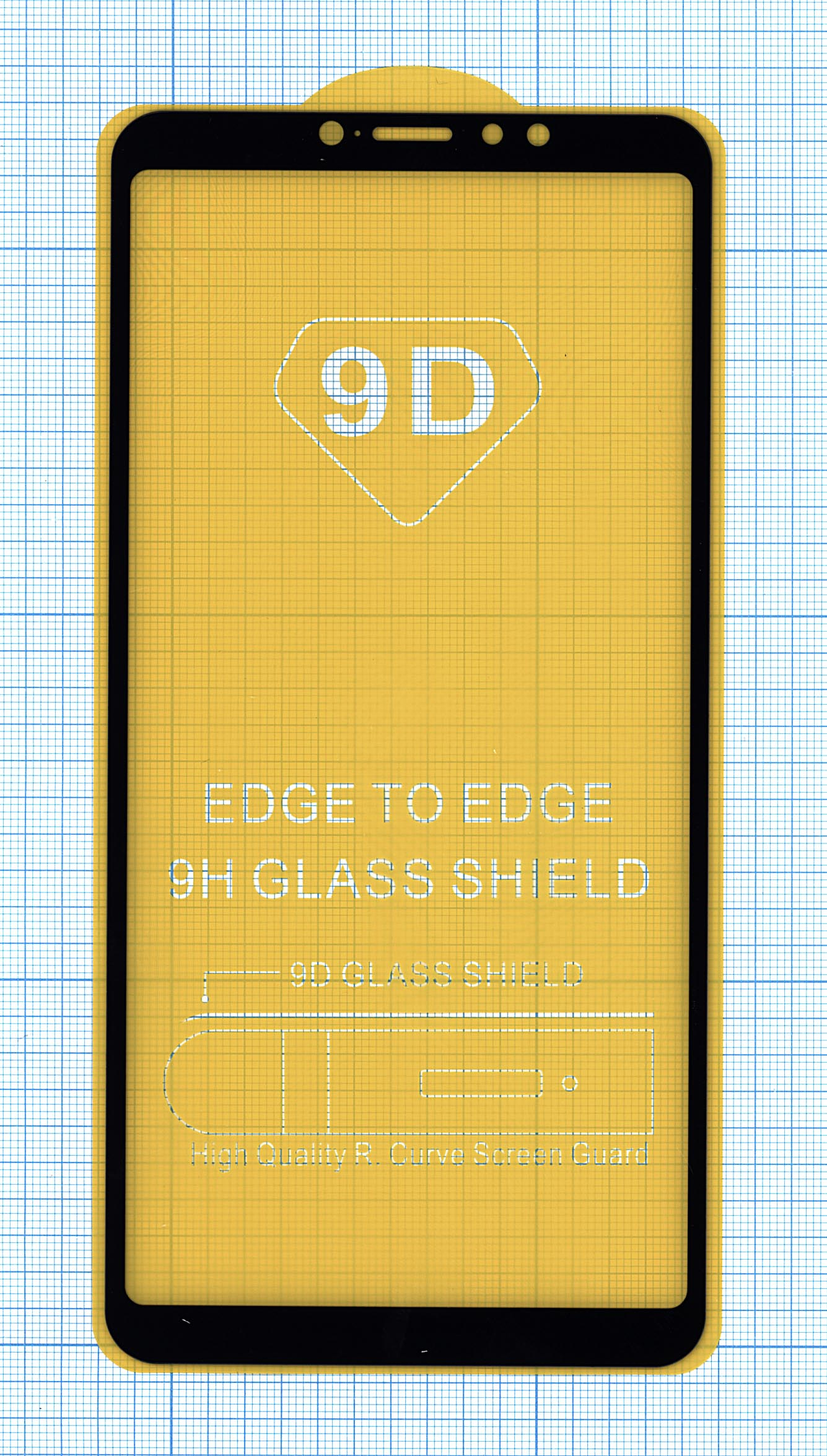 """Защитное стекло """"Полное покрытие"""" Xiaomi Mi Max 3черное"""