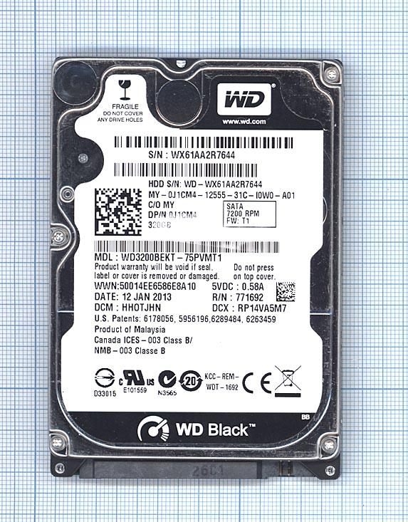 "Жесткий диск 2.5"" WD Scorpio Black 320GB, SATA II"