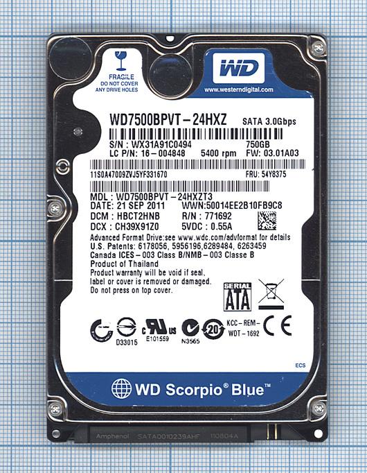 "Жесткий диск WD Scorpio Blue 2.5"",750GB,Sata 3"