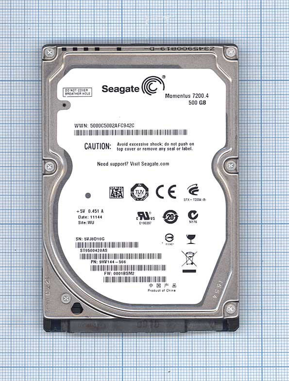 "Жесткий диск Seagate 2.5"", 500GB, SATA II"