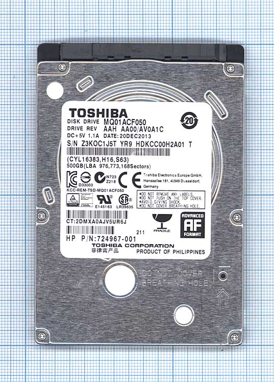 "Жесткий диск для Toshiba 2.5"", 500GB, SATA II"