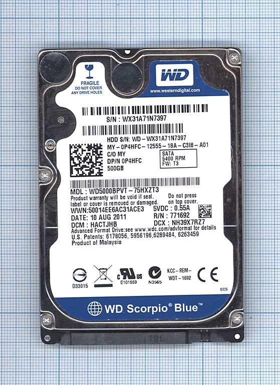 """Жесткий диск WD Blue 2.5"""", 500GB, SATA II"""