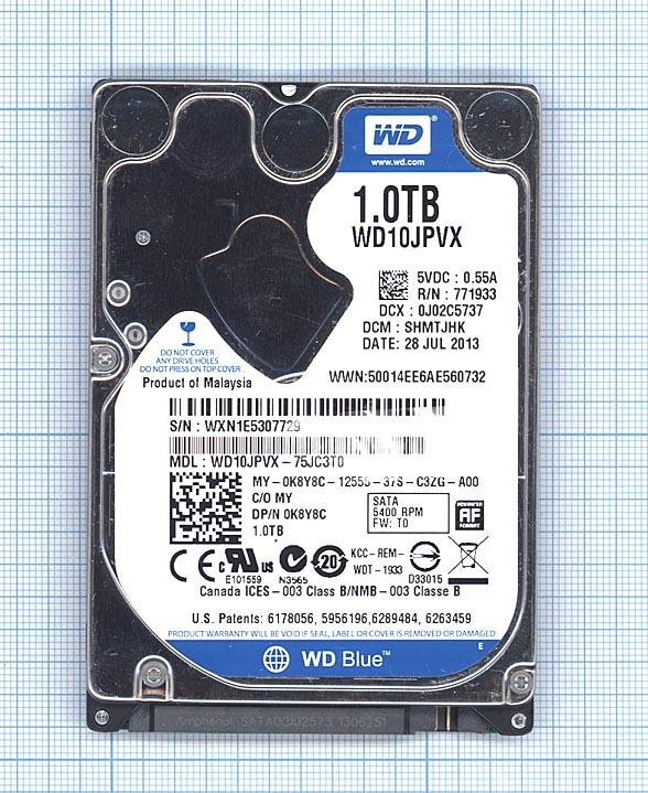 "Жесткий диск WD Blue 2.5"" 1TB, SATA II, WD10JPVX"