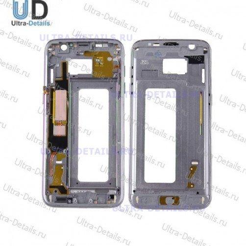 Рамка дисплея для Samsung S7 edge серебро оригинал