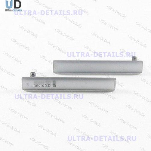 Набор заглушек для (USB+MicroSD) Sony D5803 (Z3 Compact) (серебро)